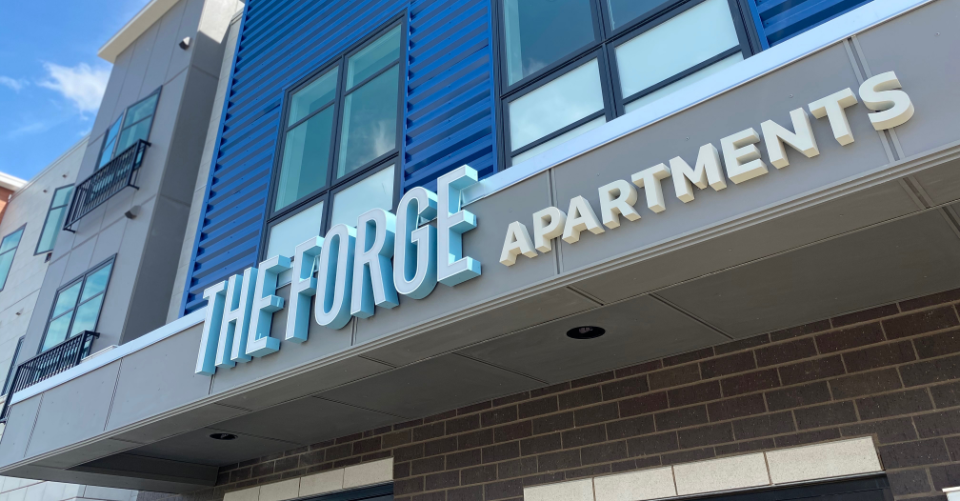 The logo and brand for The Forge is extended to its exterior building signage