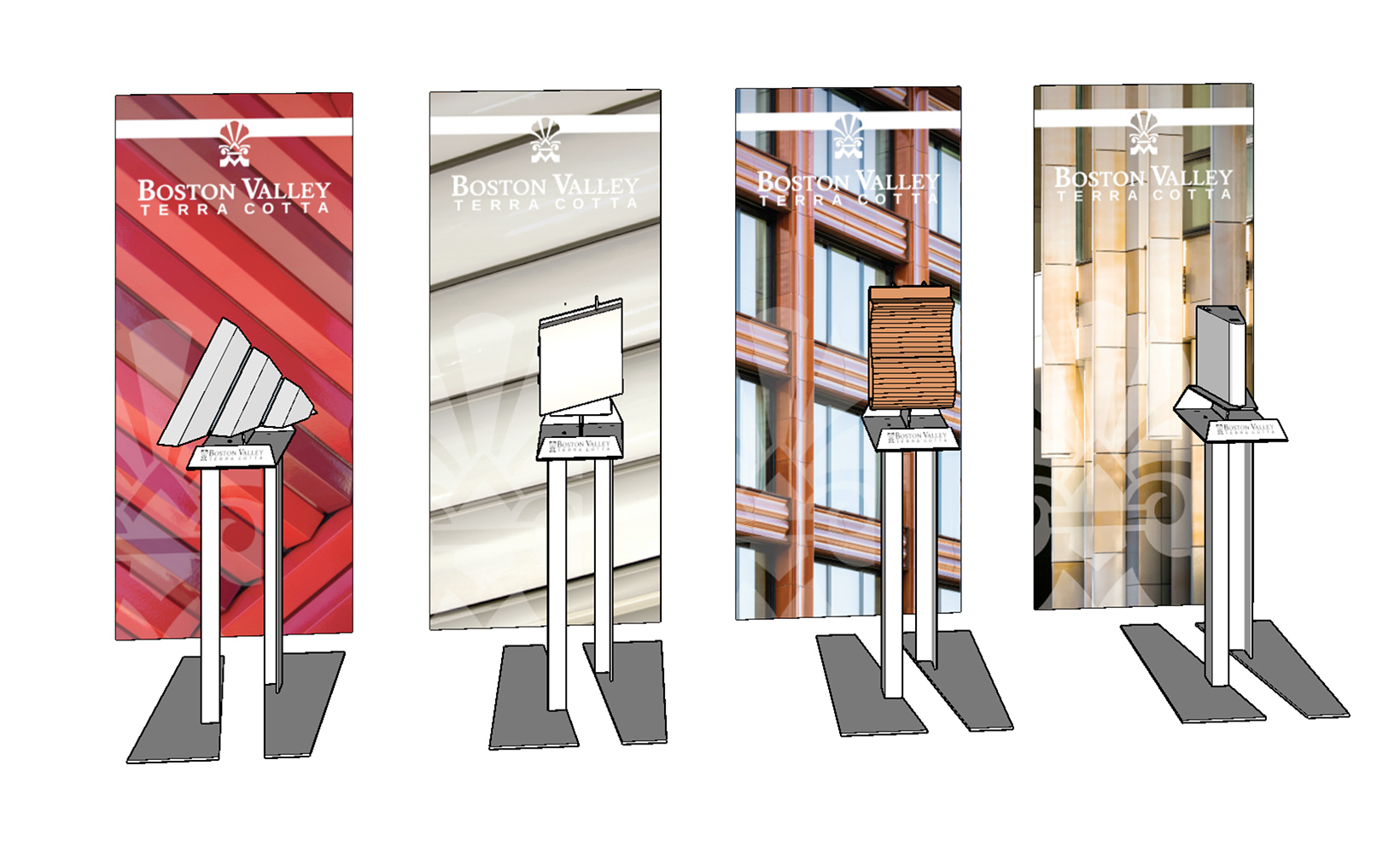 A 3D rendering of Boston Valley's trade show display, which pairs 4 retractable banners and custom-designed product stands to display pieces of terra cotta
