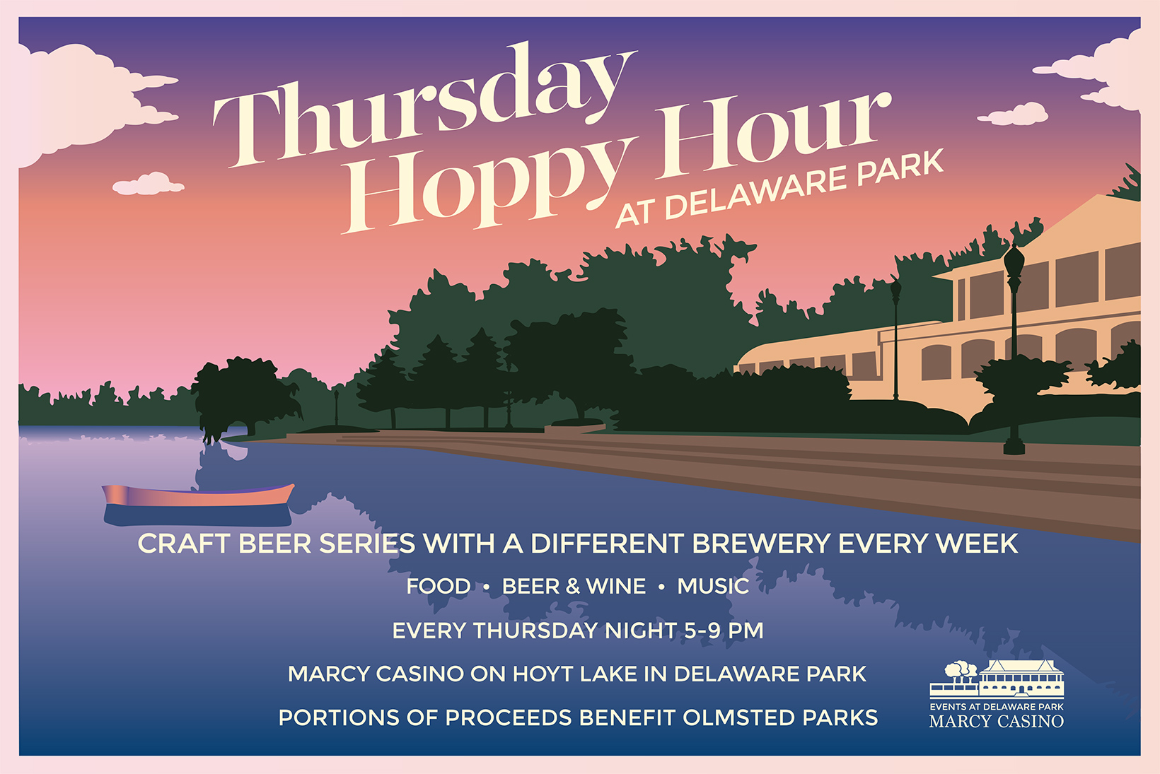 The Hoppy Hour event signage was updated for its second year, transitioning to a palette of dusky purples