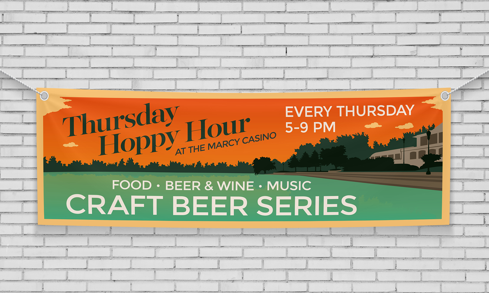A large hanging vinyl banner advertises the Thursday Hoppy Hour event at the Marcy Casino, featuring a custom illustration of the venue