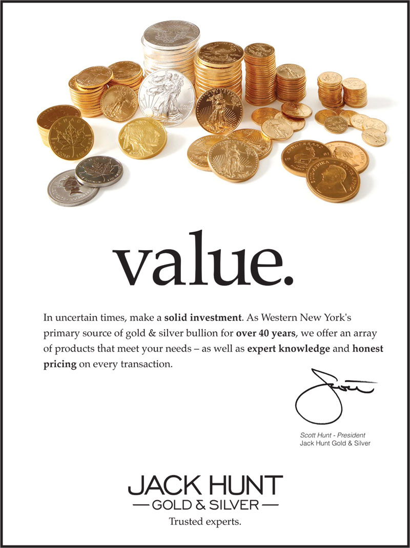 One of a set of three poster for Jack Hunt Gold & Silver, promoting one of their core qualities: value