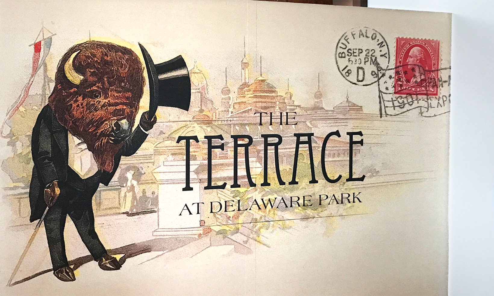 A wall mural featuring vintage art from a Buffalo tourism postcard welcomes diners to The Terrace restaurant