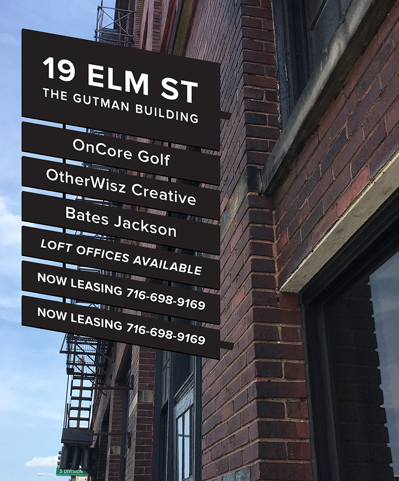 OW|EN designed a steel and aluminum blade sign for the exterior of the Gutman Building, which lets the building and tenant info to be seen from the street