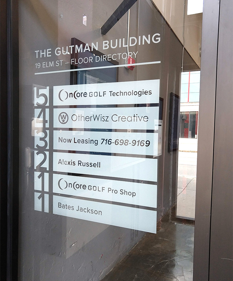 The floor directory of the Gutman Building was constructed out of white vinyl panels, each cut separately to allow for easy removal and replacement