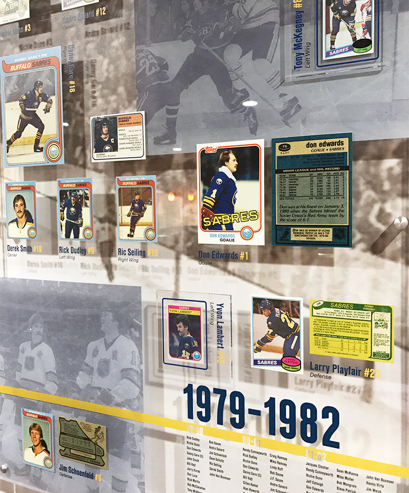 A portion of the timeline exhibit in the Sabres' Alumni Room highlights players from 1979-1982