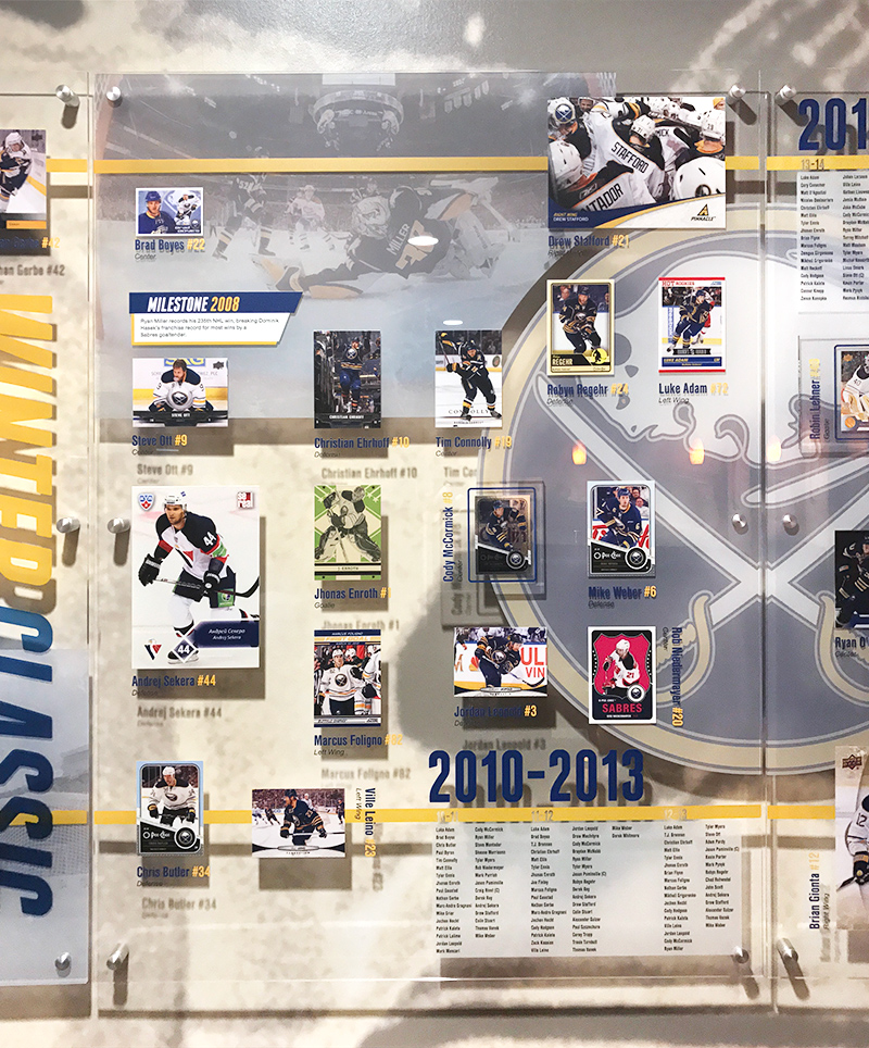 One of the acrylic panels in the Sabres' Alumni Experience highlights players from 2010-2013
