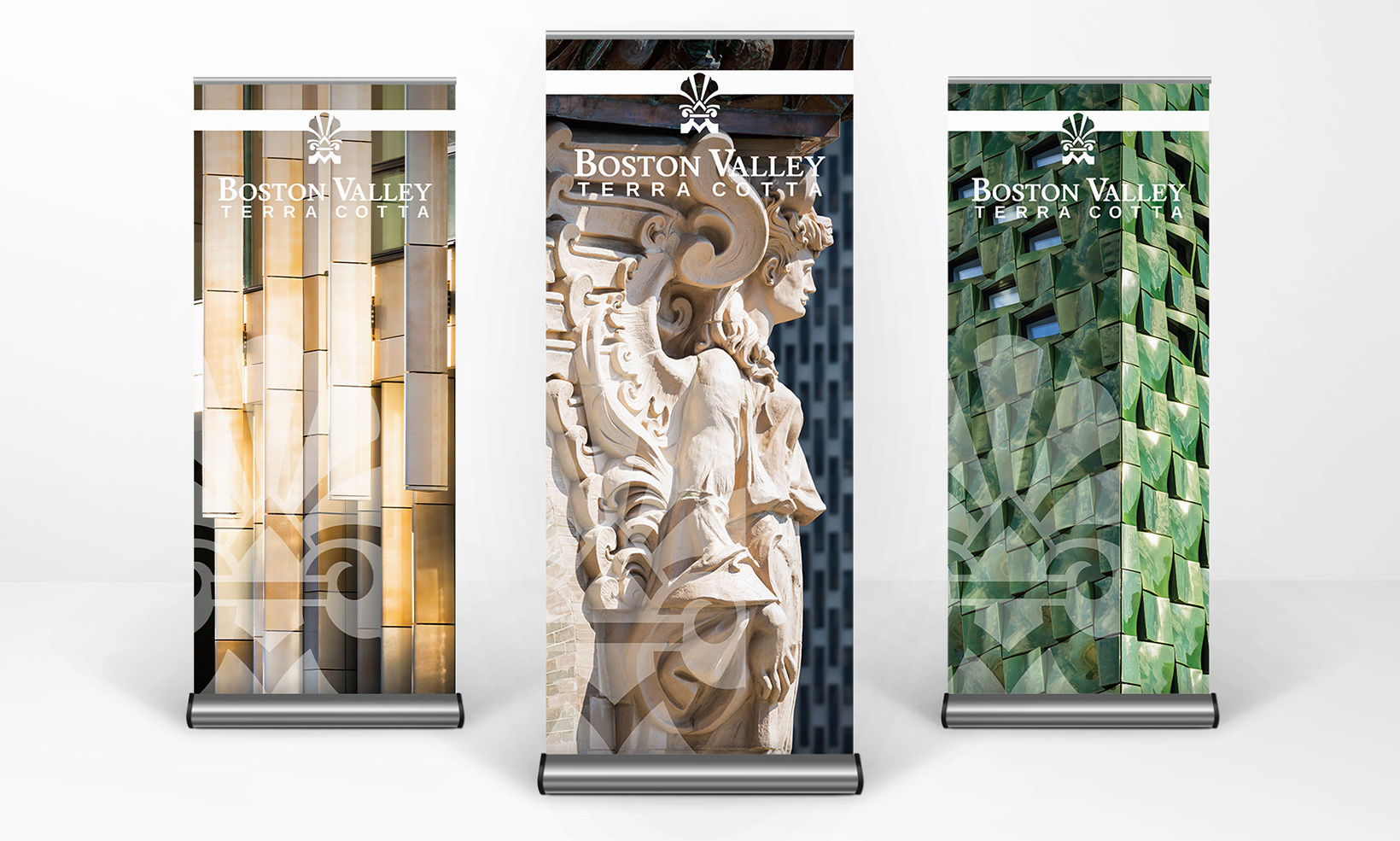 Retractable banners for use at trade shows display some of Boston Valley Terra Cotta's recent projects