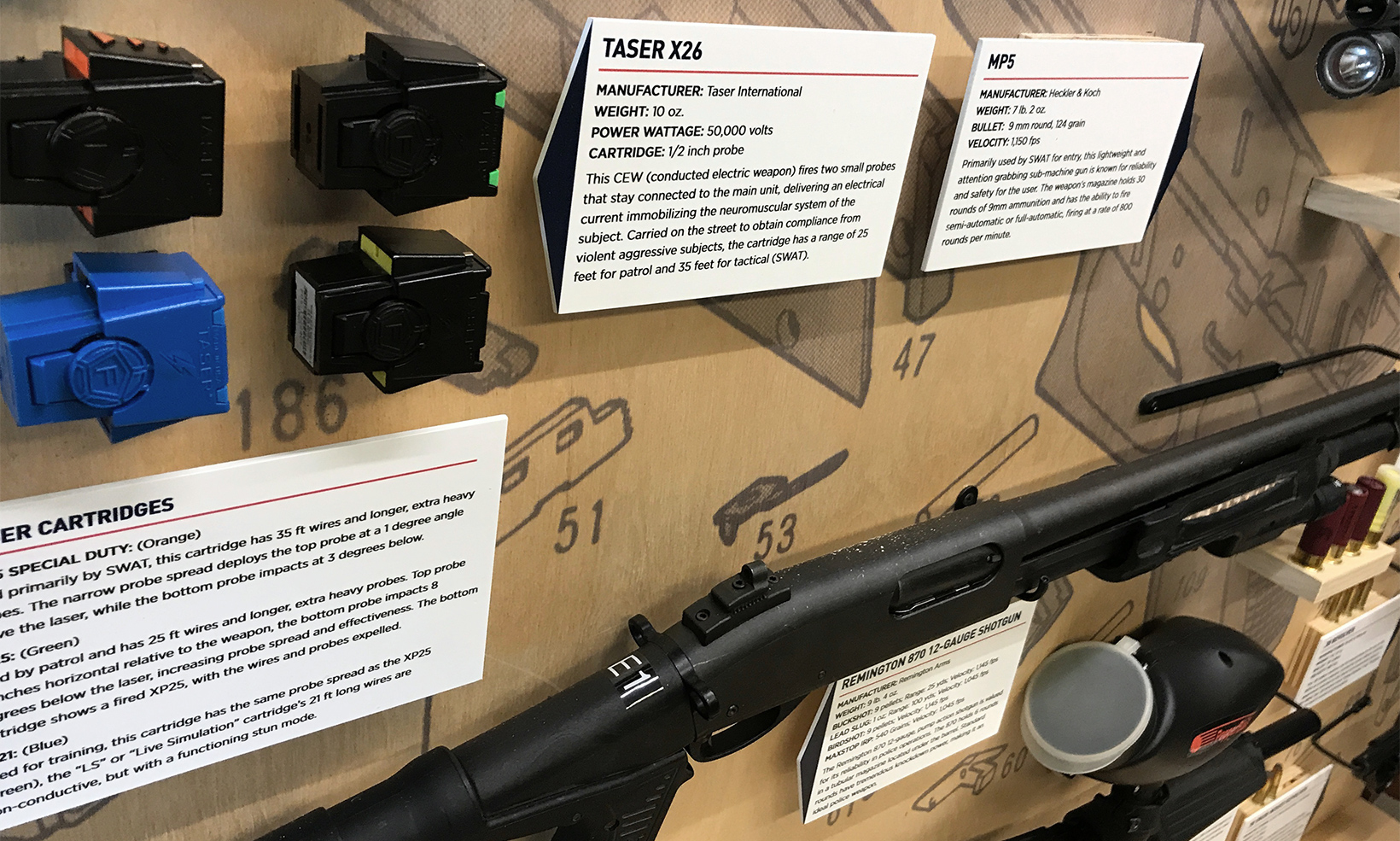 Information cards explain the details and usage of various firearms as part of the CPD law enforcement museum