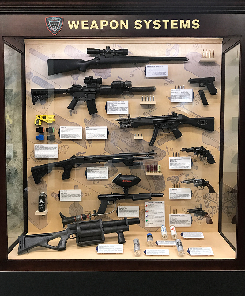 The Cheektowaga PD Weapon Systems exhibit informs viewers on the different types of firearms used by law enforcement