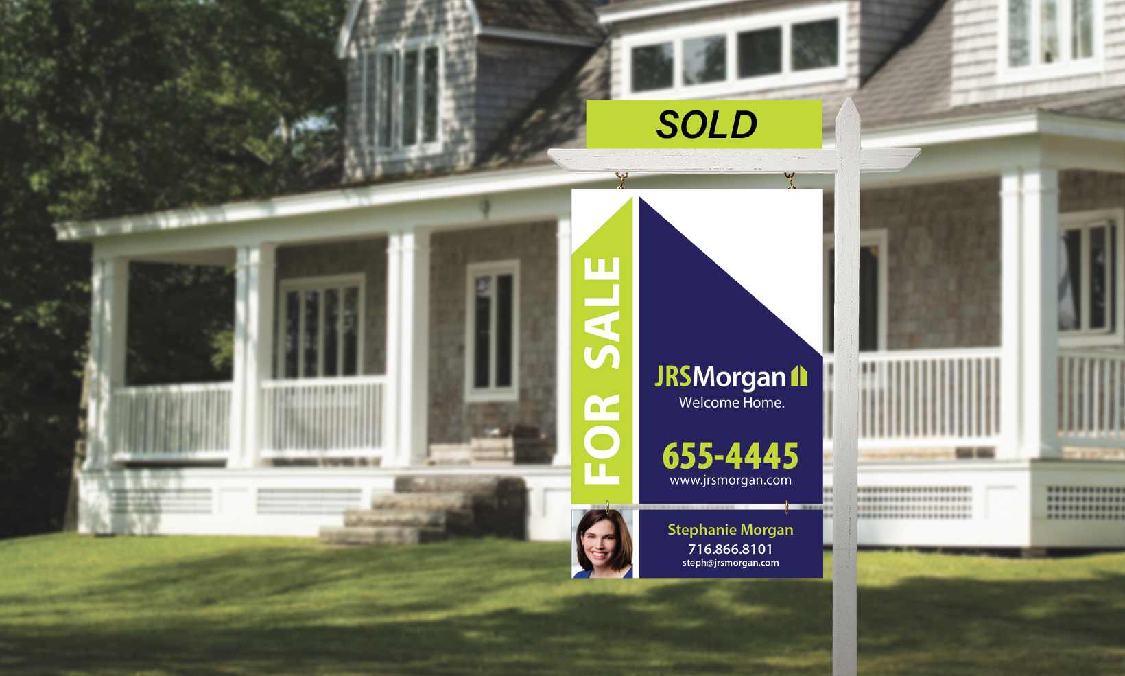 The JRS Morgan realty signs for use on front lawns use the firm's brand colors of indigo and green, and are designed to be customizable