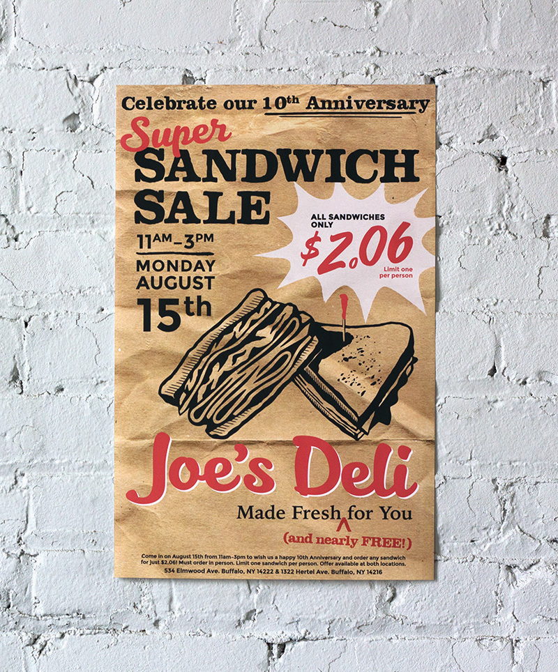 A poster designed to look as if it where printed on brown deli paper advertises the Joe's Deli Super Sandwich Sale