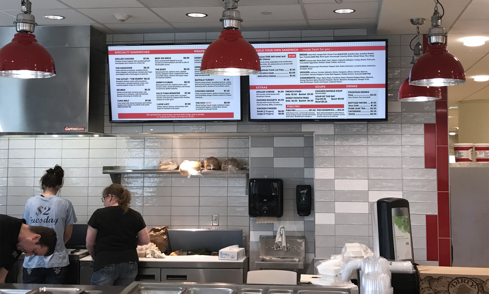 OW|EN designed a digital version of the Joe's Deli menu for a set of TV displays in their Oishei location, making updates easy to implement