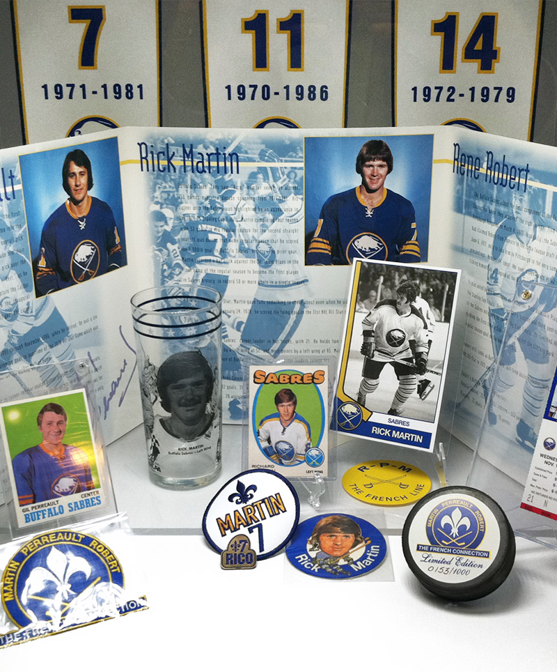 A mini-display vignette highlighting The French Connection, part of the Playmakers, Enforcers & Goalies exhibit