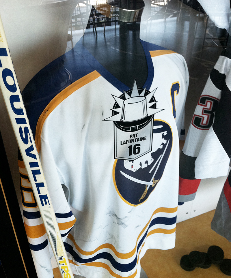 Pat Lafontaine's jersey and hockey stick, designated under the Playmaker category in this exhibit celebrating the Buffalo Sabres
