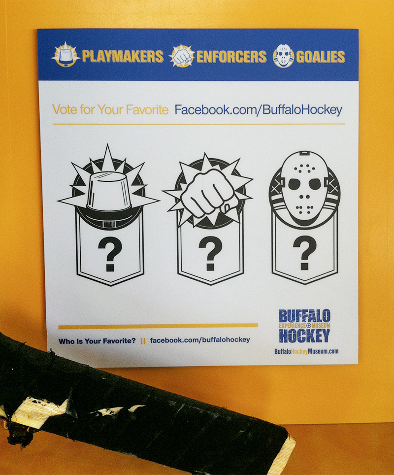 Display signage in the Playmakers, Enforcers & Goalies exhibit encourages viewers to vote for their favorite players on Facebook