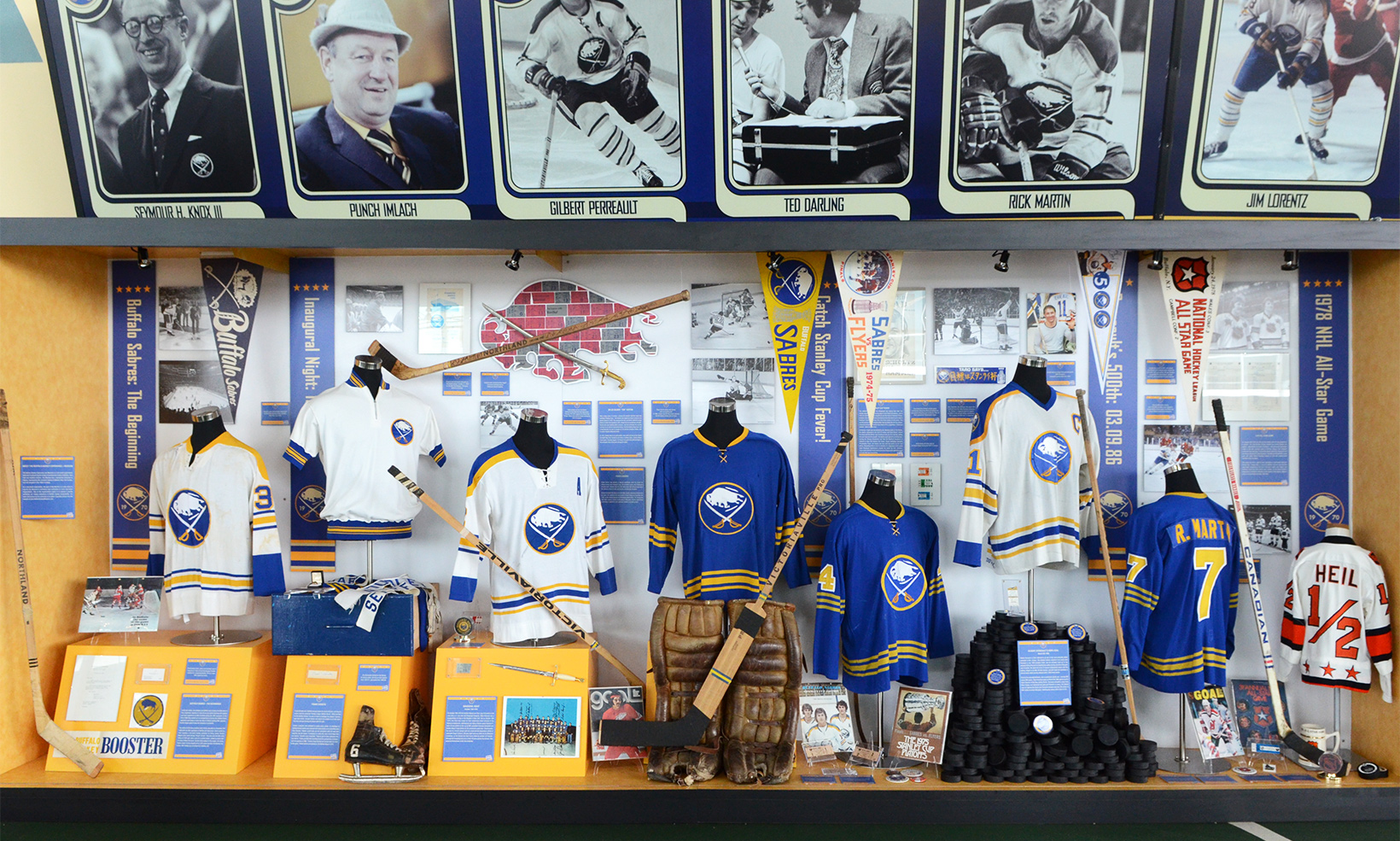 One of the two display cases of the Sabres' 40th Anniversary Exhibit at the HSBC arena, full of jerseys, sticks, and other hockey memorabilia