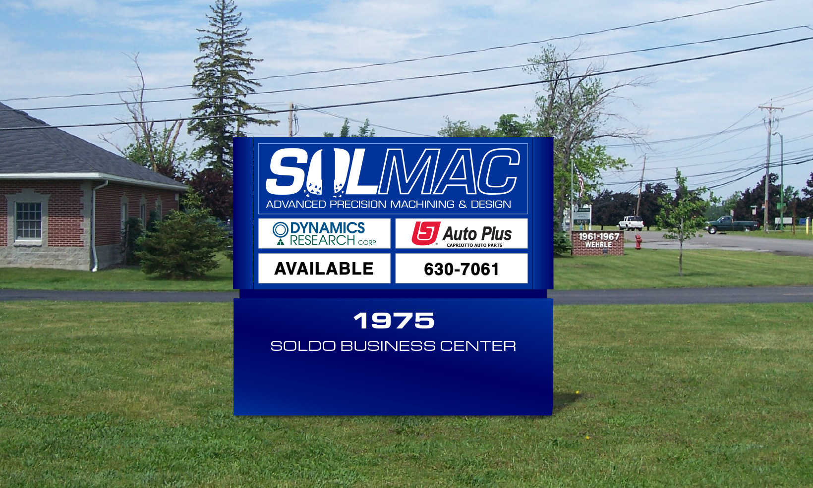 The Sol Mac monument sign doubles as a business directory, and is made of powder-coated aluminum in their brand blue color