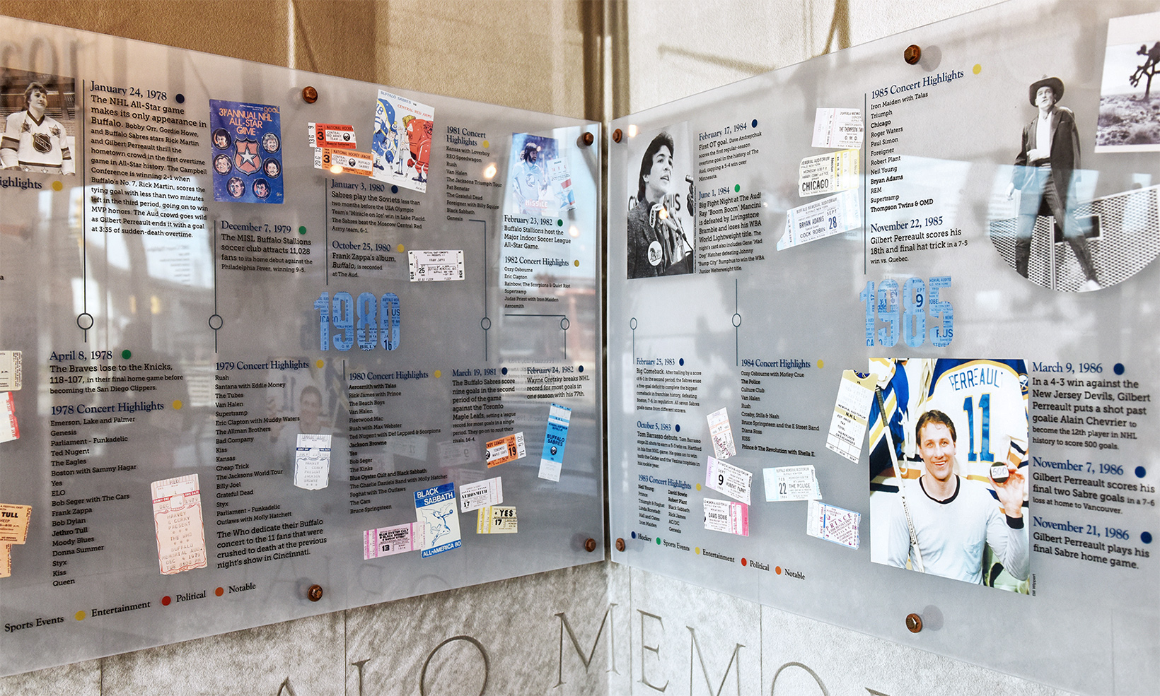The corner panels of the Tim Horton's Memorial Aud exhibit display showcases events from the 1980s to guests