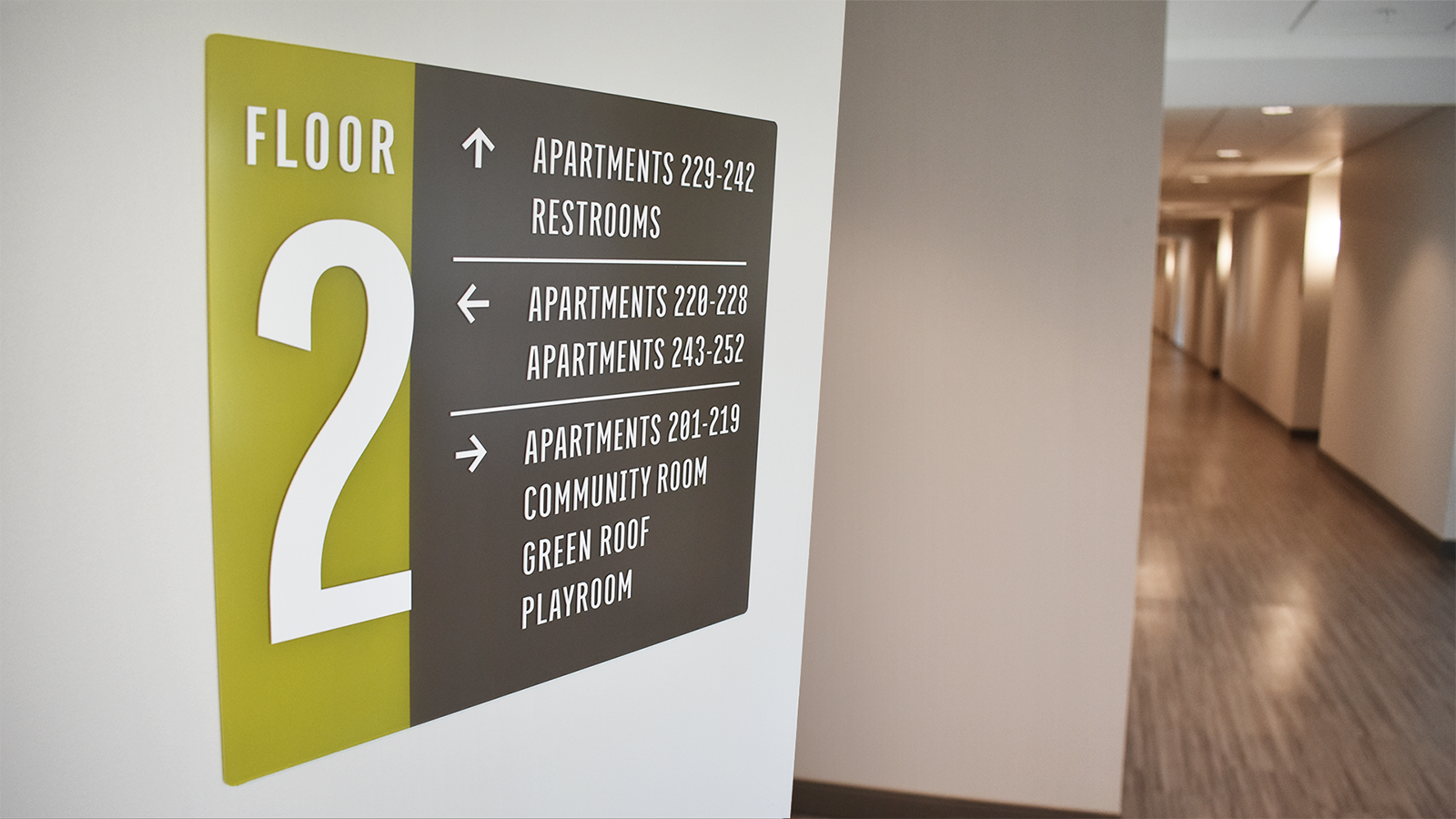 A floor directory in the Forge Apartments acts as part of their interior wayfinding system