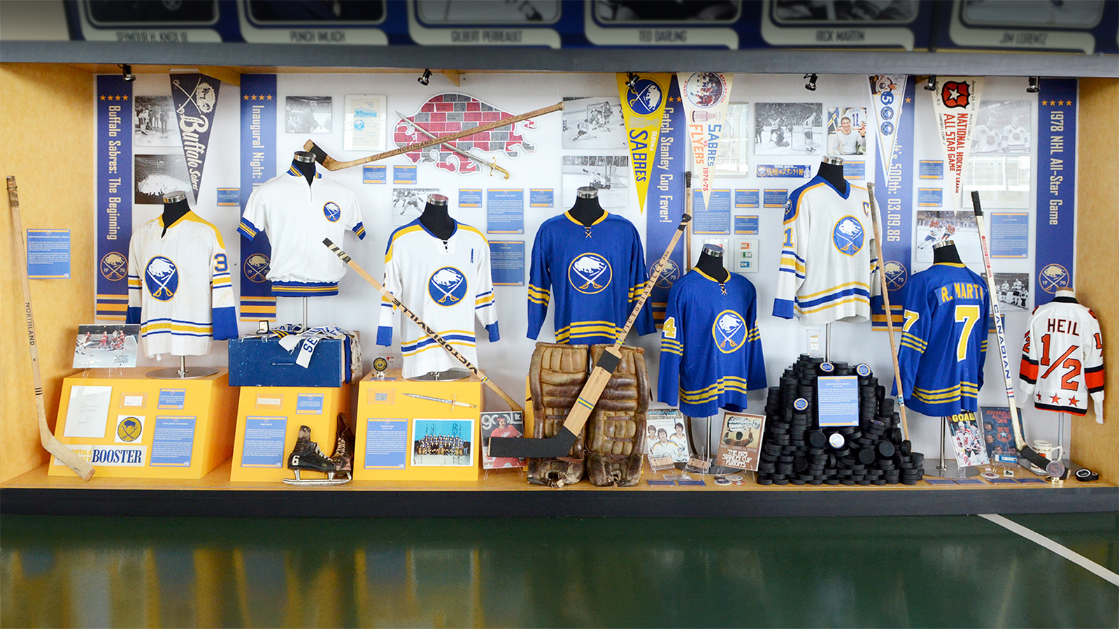 One of two large display cases that makes of the Sabres 40th Anniversary exhibit, packed full of hockey memorabilia